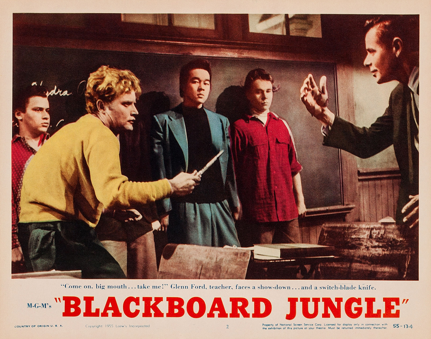 blackboard jungle This gritty, unflinching film centers on richard dadier, a war vet who gets a job teaching in a tough inner-city school an idealist, he honestly believes he can make a difference with the kids .